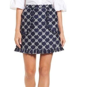 Draper James floral ruffled navy skirt